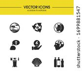 eco icons set with waste...