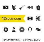 melody icons set with headphone ...