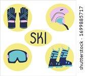 mountain skiing elements  mask  ... | Shutterstock .eps vector #1699885717