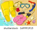 a collection of snorkeling... | Shutterstock . vector #169991915