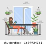 a woman is reading a book on... | Shutterstock .eps vector #1699934161