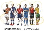 six male soccer players lined... | Shutterstock . vector #169993661