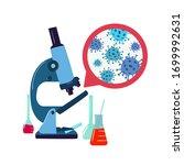 virus under the microscope... | Shutterstock .eps vector #1699992631