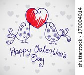 happy valentine's day card with ... | Shutterstock .eps vector #170004014