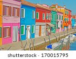 burano houses by a narrow canal | Shutterstock . vector #170015795
