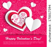 paper hearts valentine day card ... | Shutterstock .eps vector #170017394