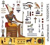 ancient egypt mural.egyptian... | Shutterstock .eps vector #1700209291