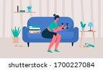 woman in sportswear doing... | Shutterstock .eps vector #1700227084