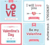 retro valentine's day card with ... | Shutterstock .eps vector #170028287
