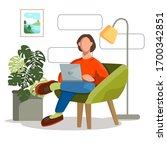 a man in an orange sweater and... | Shutterstock .eps vector #1700342851
