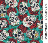 mexican day of dead seamless... | Shutterstock . vector #1700392171