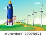 illustration of a rocket at the ... | Shutterstock .eps vector #170040521