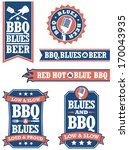 set of 6 barbecue and blues... | Shutterstock .eps vector #170043935