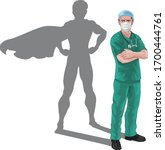 a nurse or doctor super hero in ... | Shutterstock .eps vector #1700444761