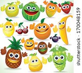 various funny cartoon fruits.... | Shutterstock . vector #170048159