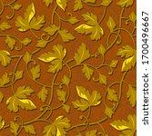 contour autumn gold leaf...   Shutterstock . vector #1700496667
