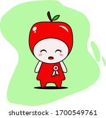 cute apple character vector... | Shutterstock .eps vector #1700549761