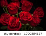 Beautiful Red Roses On A Black...