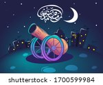 """Arabic typography saying """"Ramadan Mubarak"""". Night scene of Ramadan cannon on a hill and behind it a city consisting of houses and mosques with  sky next to the crescent with stars."""