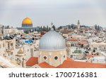 Small photo of Jerusalem, Israel December 11, 2019 roof top panoramic view of the old city of Jerusalem as seen from the Austrian Pilgrim Hospice, Christian quarter .