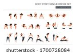 woman body stretching exercise... | Shutterstock .eps vector #1700728084