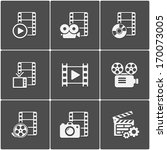 film icon pack on black... | Shutterstock .eps vector #170073005