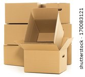 few carton boxes on the white... | Shutterstock . vector #170083121
