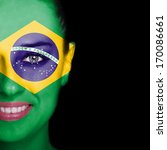 Brazil Flag Painted On Smiling...