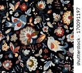 birds and flowers seamless... | Shutterstock .eps vector #170091197