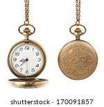 Stock photo pocket watch open and closed isolated on white background 170091857