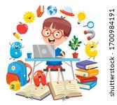 using technology for education...   Shutterstock .eps vector #1700984191