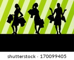 women with shopping bags vector ... | Shutterstock .eps vector #170099405