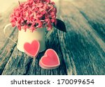Stock photo valentines day background with hearts and flower 170099654