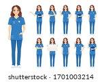 female woman nurse character... | Shutterstock .eps vector #1701003214