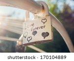 Постер, плакат: Love forever padlock with