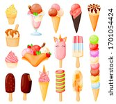 colorful ice cream cone icons... | Shutterstock .eps vector #1701054424