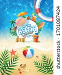 summer holiday background with... | Shutterstock .eps vector #1701087424