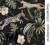 vintage tropical floral leaves  ... | Shutterstock .eps vector #1701092941