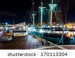 The USS Constellation at night, in the Inner Harbor of Baltimore, Maryland.