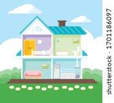 house in cut. detailed modern... | Shutterstock .eps vector #1701186097