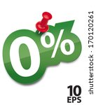 Zero percent sticker fixed by a thumbtack. Vector illustration