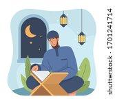 muslim man reading holy quran....   Shutterstock .eps vector #1701241714