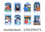 stay at home and self isolation ... | Shutterstock .eps vector #1701259171