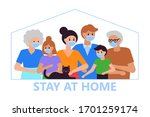 stay at home and self isolation ... | Shutterstock .eps vector #1701259174