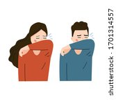 cough or sneeze with elbow | Shutterstock .eps vector #1701314557