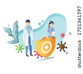 doctors and nurses stand behind ...   Shutterstock .eps vector #1701361597