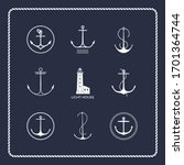 set of nautical emblems.... | Shutterstock .eps vector #1701364744