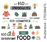 vector set of eco friendly... | Shutterstock .eps vector #1701386671