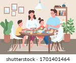 family meal flat color vector... | Shutterstock .eps vector #1701401464
