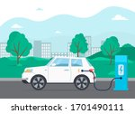 electric car in charging... | Shutterstock .eps vector #1701490111